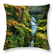 Sol Duc Falls In Autumn Throw Pillow
