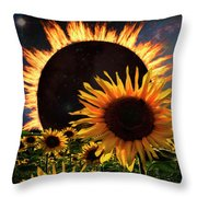 Solar Corona Over The Sunflowers Throw Pillow