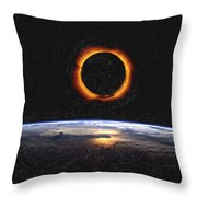 Solar Eclipse From Above The Earth Painting Throw Pillow
