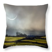 Solar Eclipse Over County Clare Countryside Throw Pillow
