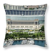 Soldier Field Stadium In Chicago Aerial Photo Throw Pillow