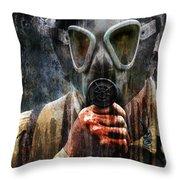 Soldier In World War 2 Gas Mask Throw Pillow