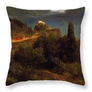 Soldiers Amount Towards A Mountain Fortress Throw Pillow