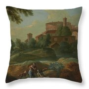 Soldiers And Dogs Near A River Throw Pillow