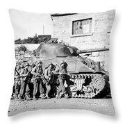 Soldiers And Their Tank Advance Throw Pillow