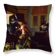 Soldiers Beside A Fireplace 1632 Throw Pillow