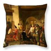 Soldiers In A Tavern During The Thirty Years Throw Pillow