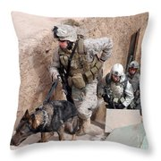 Soldiers Move To The Roof Of A Metal Throw Pillow