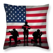 Soldiers On American Flag Throw Pillow
