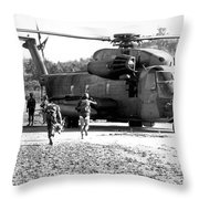 Soldiers Run To A Hh-53c Helicopter Throw Pillow