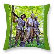 Soldiers Statue At The Vietnam Wall Throw Pillow