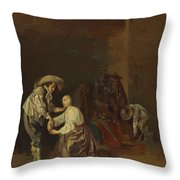 Soldiers Taking Plunder Throw Pillow