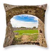 Solin Ancient Arena Old Ruins Throw Pillow