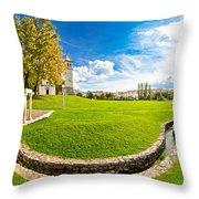 Solin Park And Church Panoramic View Throw Pillow