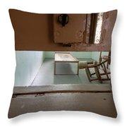 Solitary Confinement Cell Through Door Slat Throw Pillow