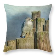 Solitary Gull Throw Pillow