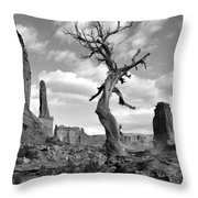 Solitary Park Avenue Tree - Bw Throw Pillow