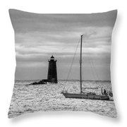 Solitary Sailor, New Castle Sunrise Throw Pillow