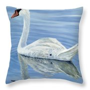 Solitary Swan Throw Pillow