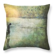 Solitary--walking In Water Throw Pillow