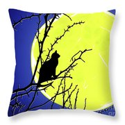 Solitary With Golden Moon Throw Pillow