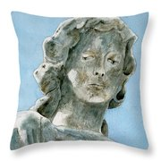 Solitude. A Cemetery Statue Throw Pillow