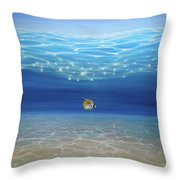 Solo Under The Turquoise Sea Throw Pillow