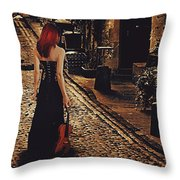 Soloist - Solitary Woman With Violin Throw Pillow