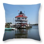 Solomons Island - Drum Point Lighthouse Reflecting Throw Pillow