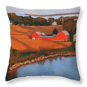 Solomons Red Barn At Sunset Throw Pillow