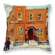 Solomons Temple Montreal Bagg Street Shul Throw Pillow