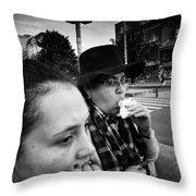 Sombrero Woman Throw Pillow