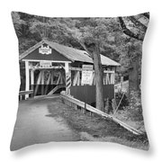 Somerset One Lane Bridge Black And White Throw Pillow