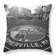 Somerville Ma Davis Square 175 Years Black And White Throw Pillow