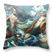 Something Fowl Afloat 2b Throw Pillow