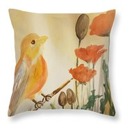 Somewhere In The Poppy Field Throw Pillow
