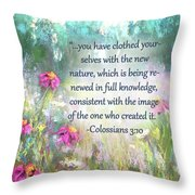 Song Of The Flowers With Bible Verse Throw Pillow