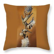 Song Sparrow And Milkweed Throw Pillow