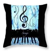 Songs - Blue Throw Pillow