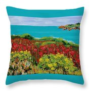 Sonoma Coast With Wildflowers Throw Pillow