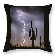 Sonoran Desert Monsoon Storming Throw Pillow