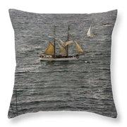 Soren Larsen Tall Ship Enters Sydney Harbour Throw Pillow