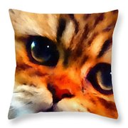 Soulfull Eyes Kitten Portrait Throw Pillow