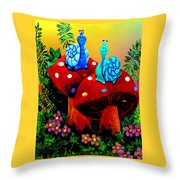 Soupy Snails Throw Pillow