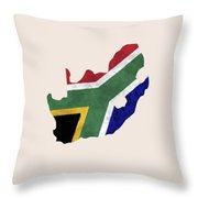 South Africa Map Art With Flag Design Throw Pillow