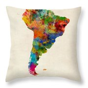 South America Watercolor Map Throw Pillow