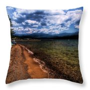South Beach At Priest Lake Throw Pillow