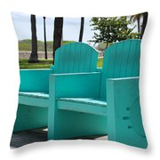 South Beach Bench Throw Pillow
