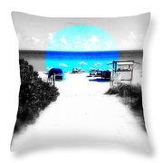 South Beach Blues Throw Pillow