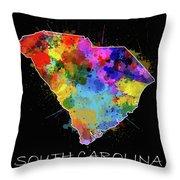 South Carolina Map Color Splatter 2 Throw Pillow